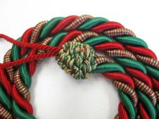 2 Rope curtain tiebacks RED & GREEN slender slinky cord drape tie Xmas Christmas
